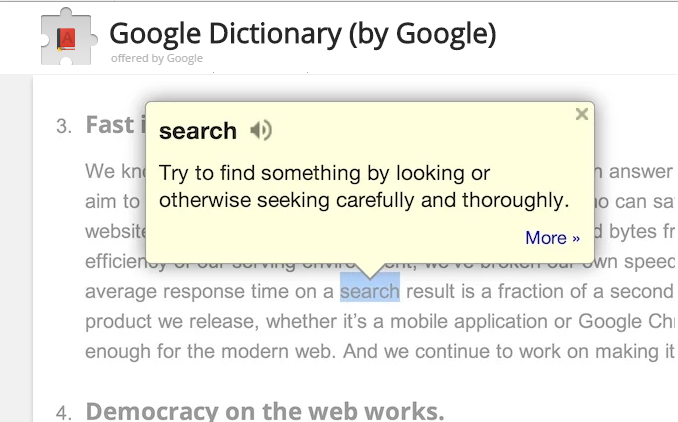 google dictionary ex